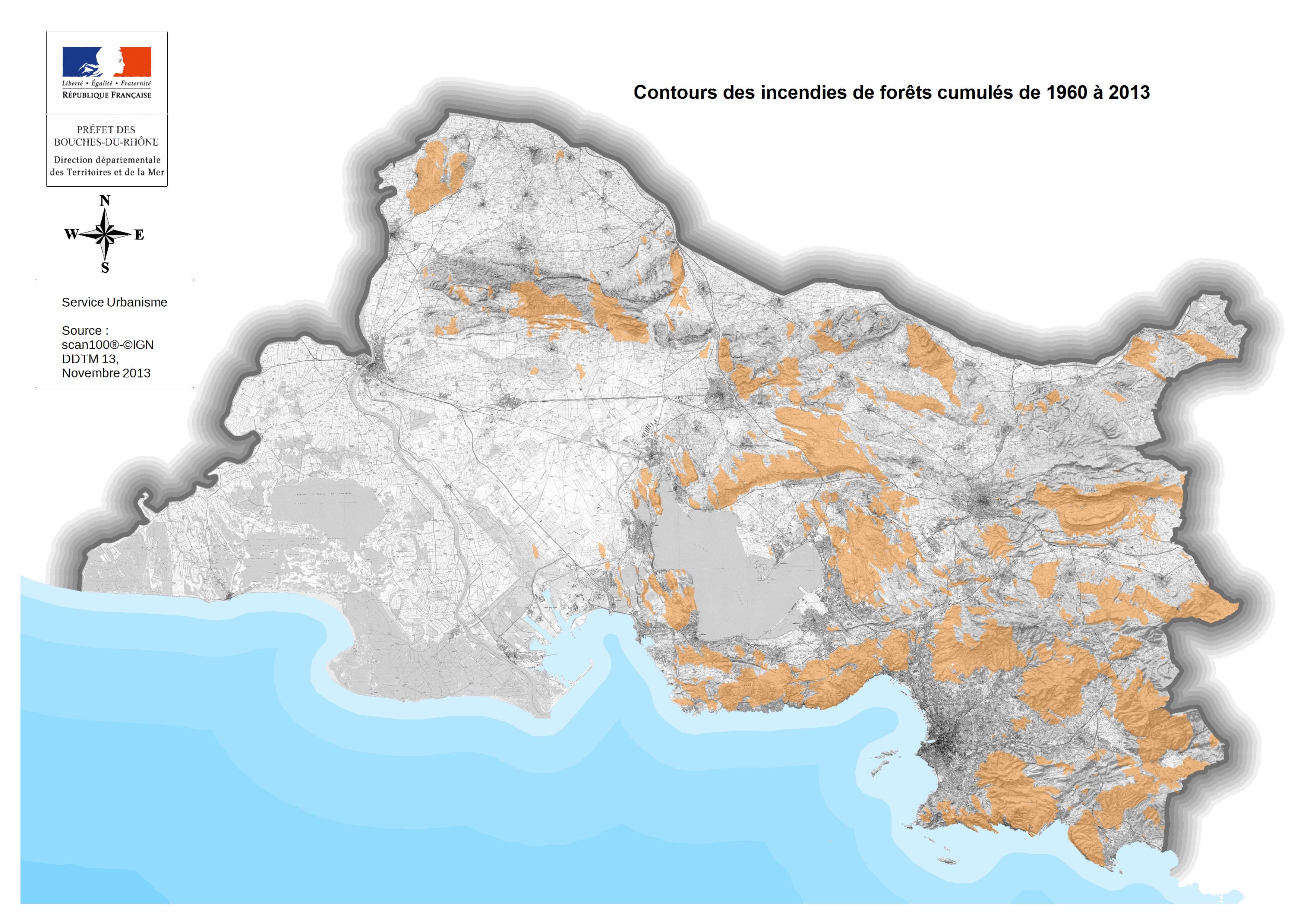 Cartographie des territoires concern s feu de for t for Info regionale bouche du rhone